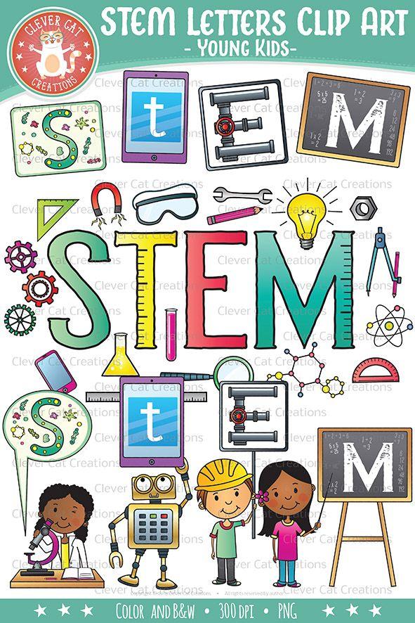 stem clip art letters  science  tech  engineering  math