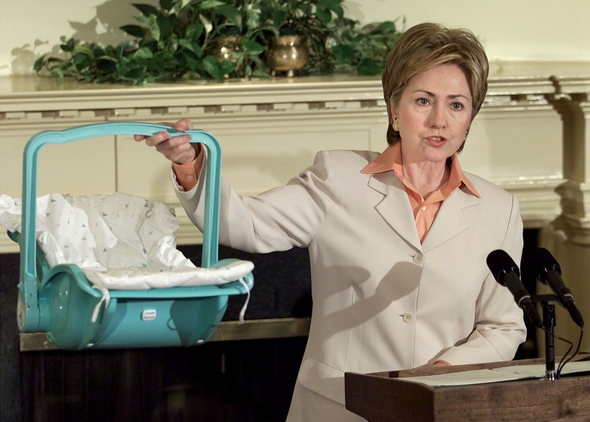 Later that year, Clinton held an event at the White House on preventing potential harm to children from defective products. (Photo via Reuters)  via @AOL_Lifestyle Read more: http://www.aol.com/article/2016/06/20/heres-why-voters-dont-like-donald-trump-and-hillary-clinton/21398108/?a_dgi=aolshare_pinterest#fullscreen