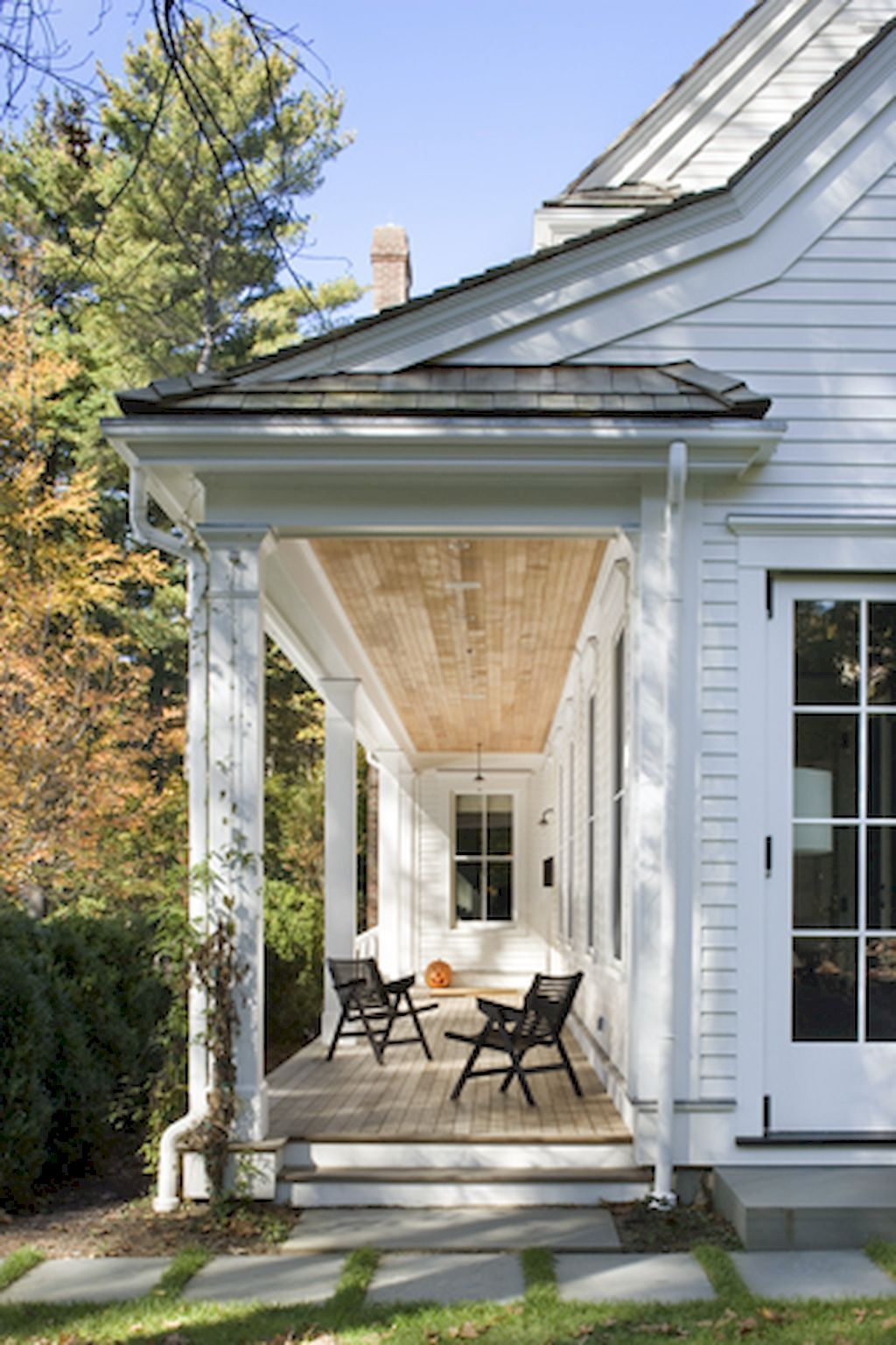 85 Beautiful Wooden and Stone Front Porch Ideas - Decoradeas #sideporch