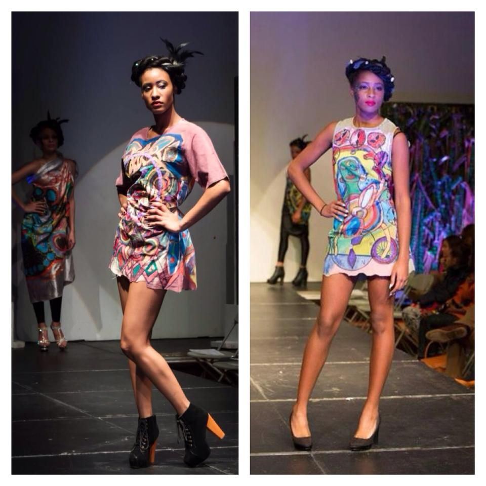 """My two dresses and two hand made paints on them presented  at L Art de La Mode """"Spirit of Africa, Asia and The Caribbean Tabernacle London 16 February 2014"""
