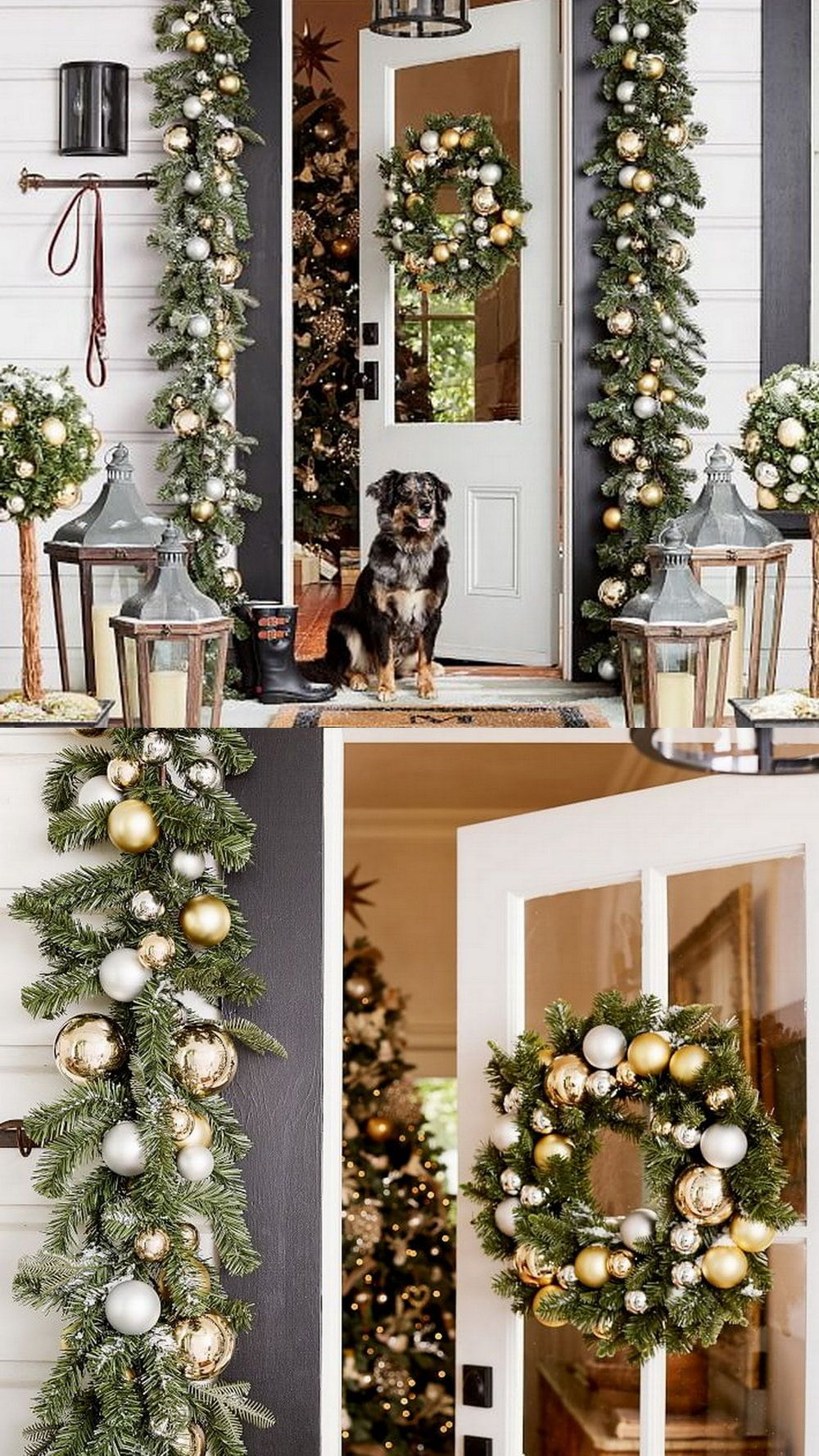 Indoor Outdoor Ornament Pine Gold Silver Decor Exterior Christmas Decorations Outdoor Christmas Decorations Christmas Deco