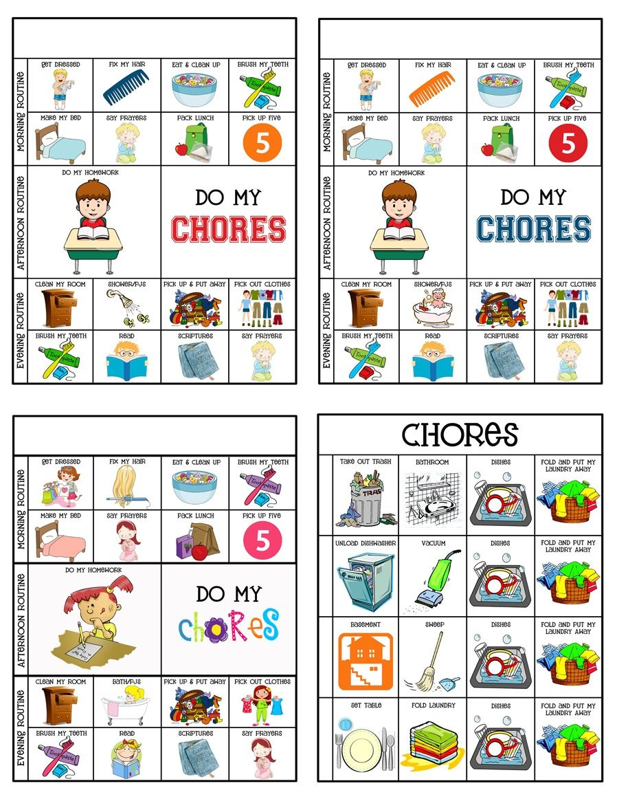 Chore Charts Chore system, Chart and Parents