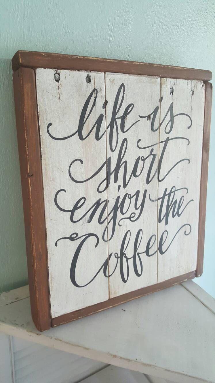 Life is short enjoy the coffee framed Farmhouse magnolia ...