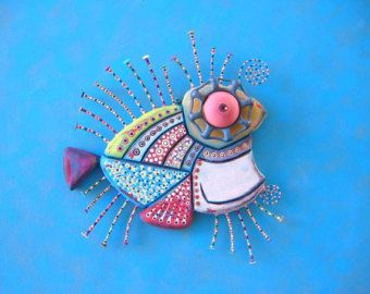 Golden Sunfish Original Found Object Wall by FigJamStudio on Etsy
