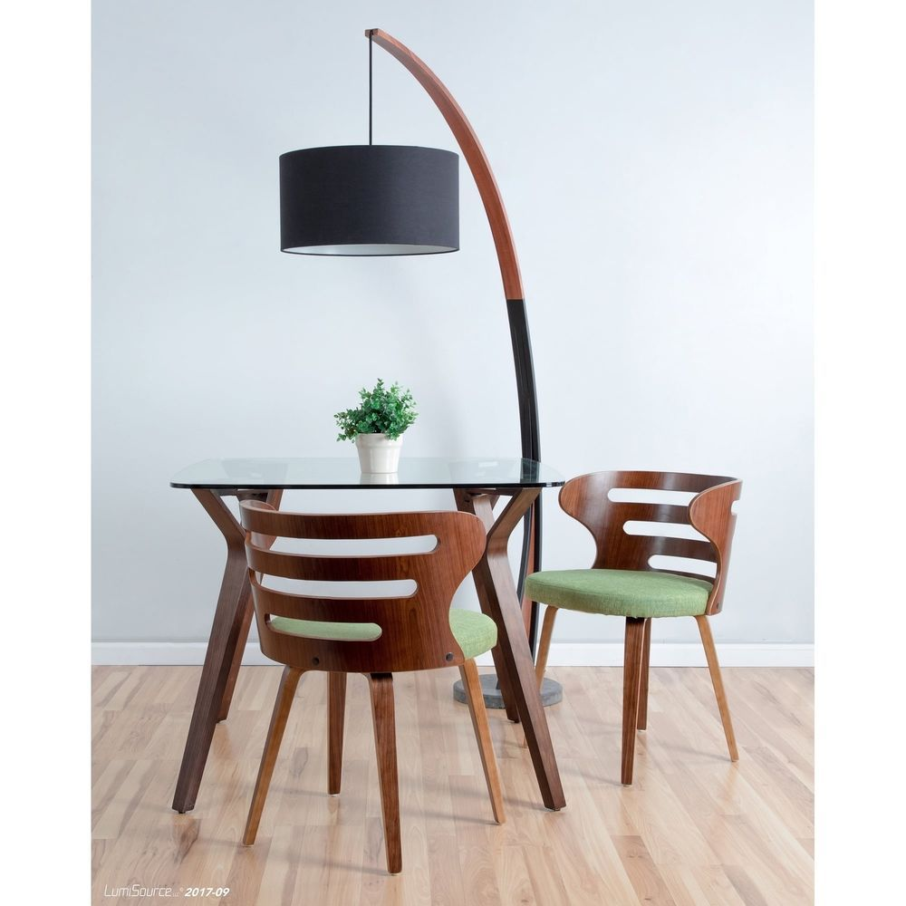 Noah Mid Century Modern Floor Lamp With Walnut Wood Frame