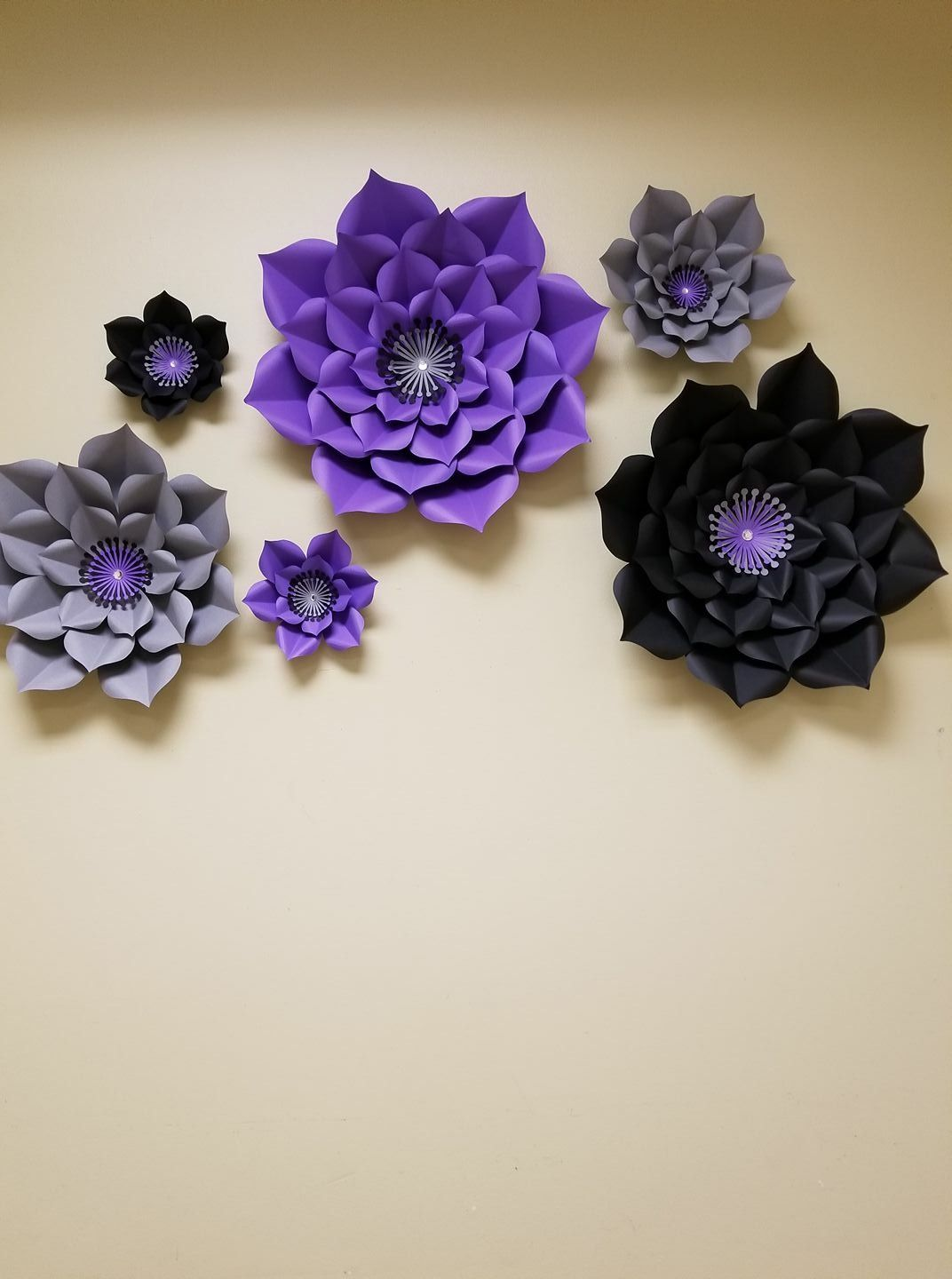 Purple Black And Silver Paper Flower Backdrop All Hand Made And
