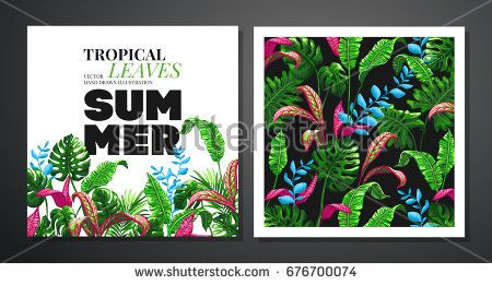 Tropical palm leaves background vector illustration in trendy style tropical palm leaves background vector illustration in trendy style invitation or card design with jungle leaves stopboris Choice Image