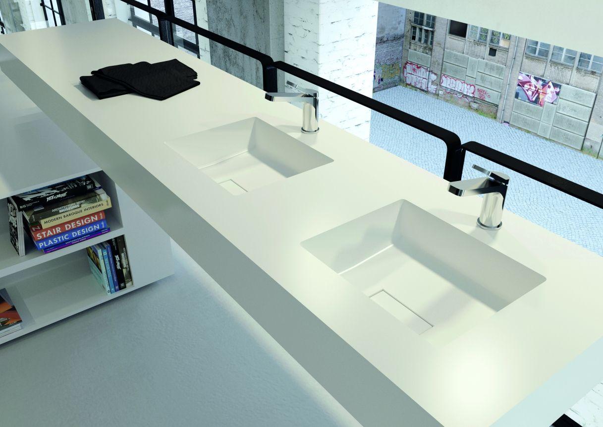 wastafelblad van solid surface met vierkante wasbakken design