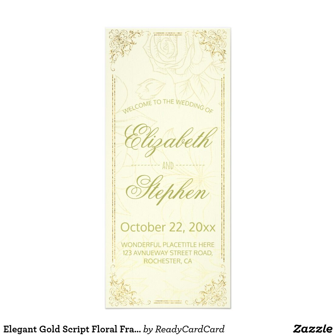 Elegant Gold Script Floral Frame Wedding Program