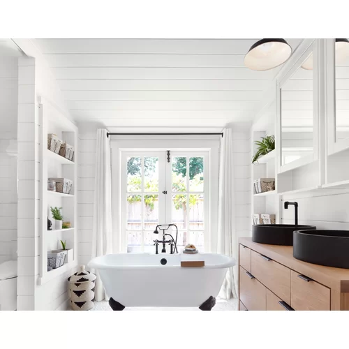 Peel And Stick Vinyl Wall Paneling In White Vinyl Wall Panels White Paneling Diy Bathroom