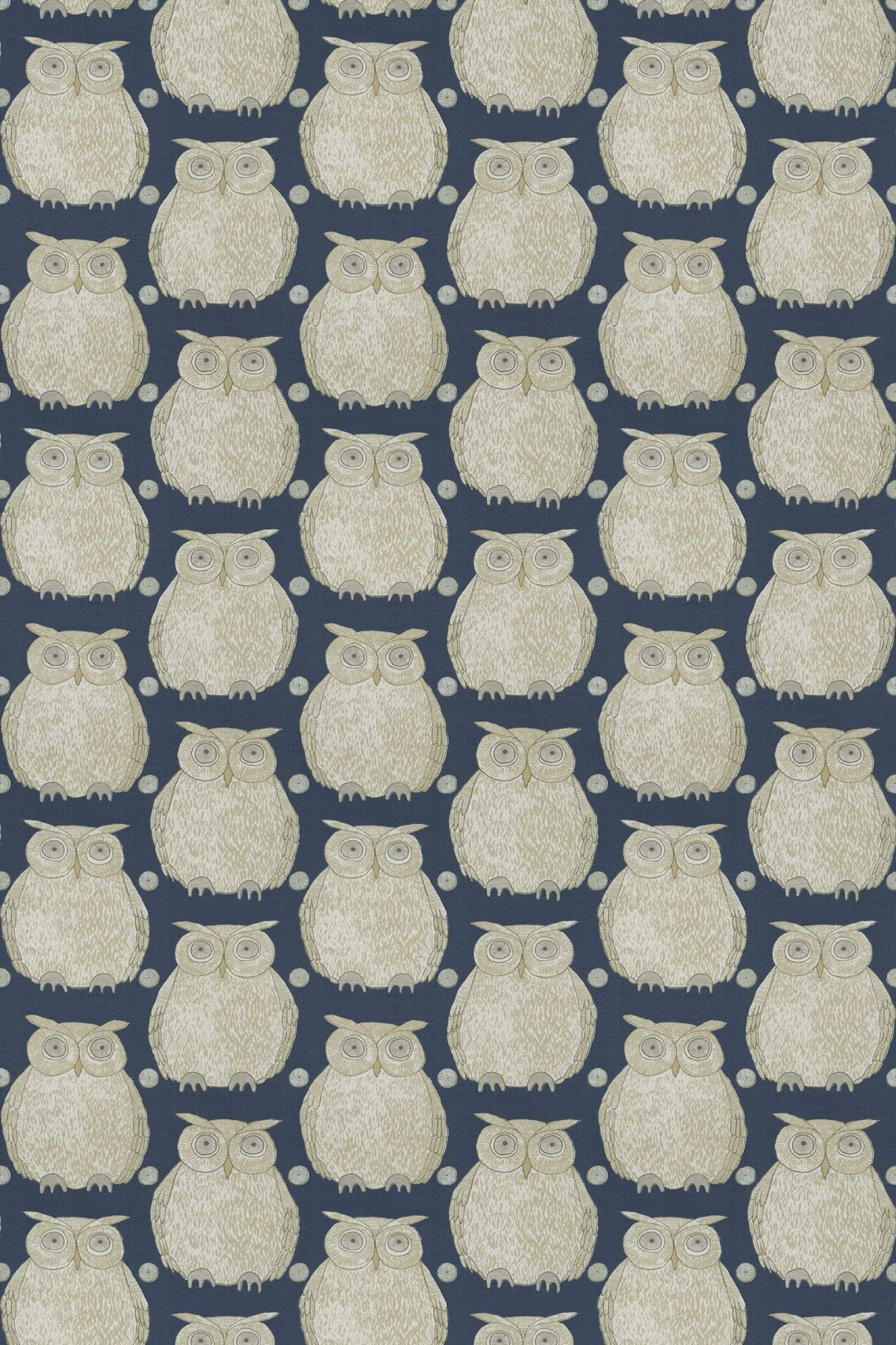 Tawny Owl (Tawny/004) - Blendworth Fabrics - A cute and quirky owl motif, in beige on cream with metallic detailing, a rich mid blue background. Linen mix fabric. Please request sample for true colour match.