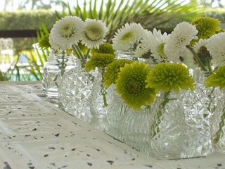 Single Stem Green And White Button Mums Mixed In With Carnations Placed Antique Salt Wedding DecorationsGreen CenterpiecesCenterpieces