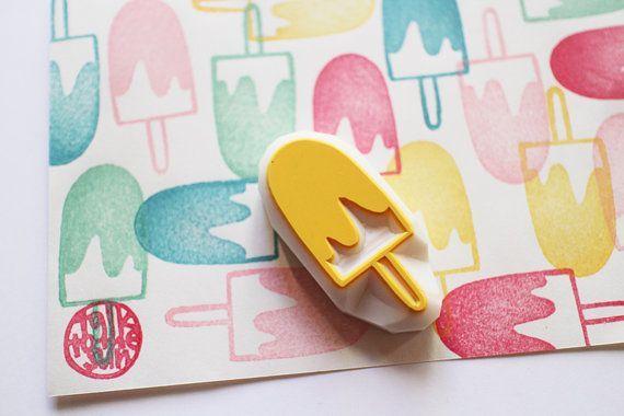 Eis-Stempel | Eis Süßigkeiten Stempel | Popsicle Stempel | Handgeschnitzte Stempel für Sommer Handwerk, Kartenherstellung, Geschenkverpackung | Geschenk für Kinder #rubberstamping