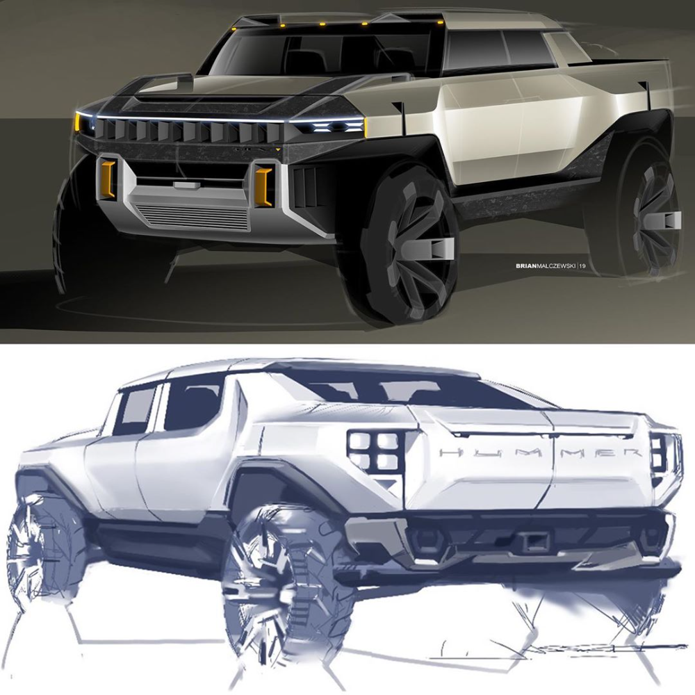 Gm Design On Instagram How Did We Create The New Gmc Hummer Ev Check Out Some Behind The Scenes Theme Sketches That Lea Concept Car Design Hummer Gmc
