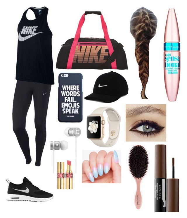 """Who Else Dreads Workout Days???"" by ela-abad524 on Polyvore featuring NIKE, Beats by Dr. Dre, Yves Saint Laurent, Maybelline and Sephora Collection"