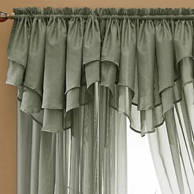 Window Treatment jcpenney valances window treatments : Snow Voile Layered Ascot Valance - jcpenney | Windows | Pinterest ...
