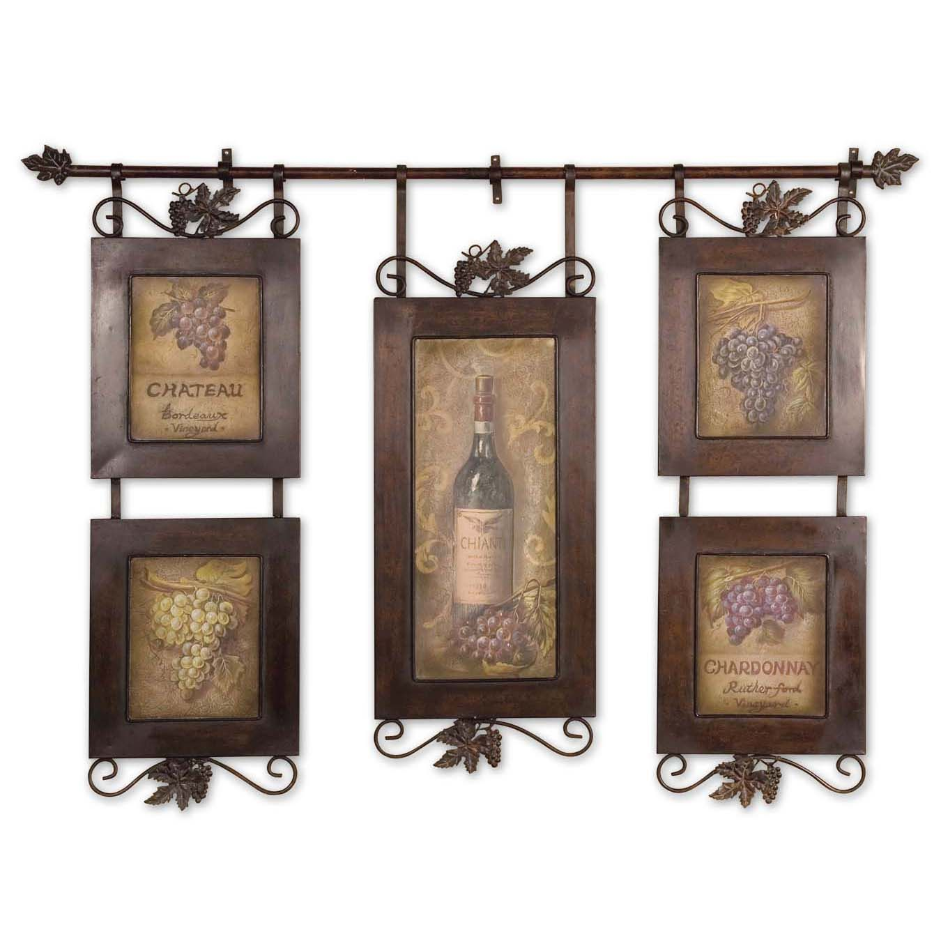 Show your love for contemporary art and improve your home's decor with this 'Hanging Wine' framed art. This item features five oil paintings and a lovely metal frame. The rustic look allows this art to blend in with your furniture and other decorations.