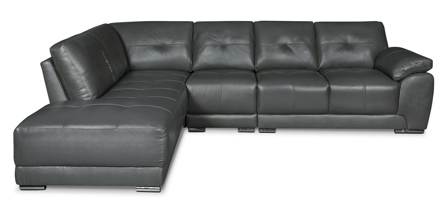 Living Room Furniture Rylee 3 Piece Genuine Leather Left Facing Sectional Grey Sectional Furniture Sectional Couch