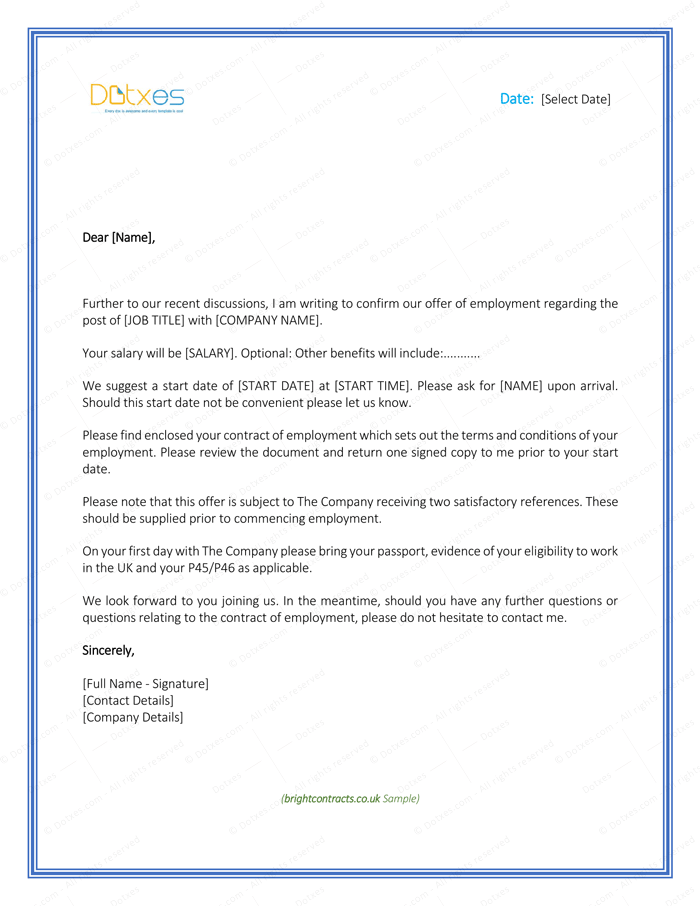Job offer letter template for uk letter templates write quick job offer letter template for uk spiritdancerdesigns Image collections