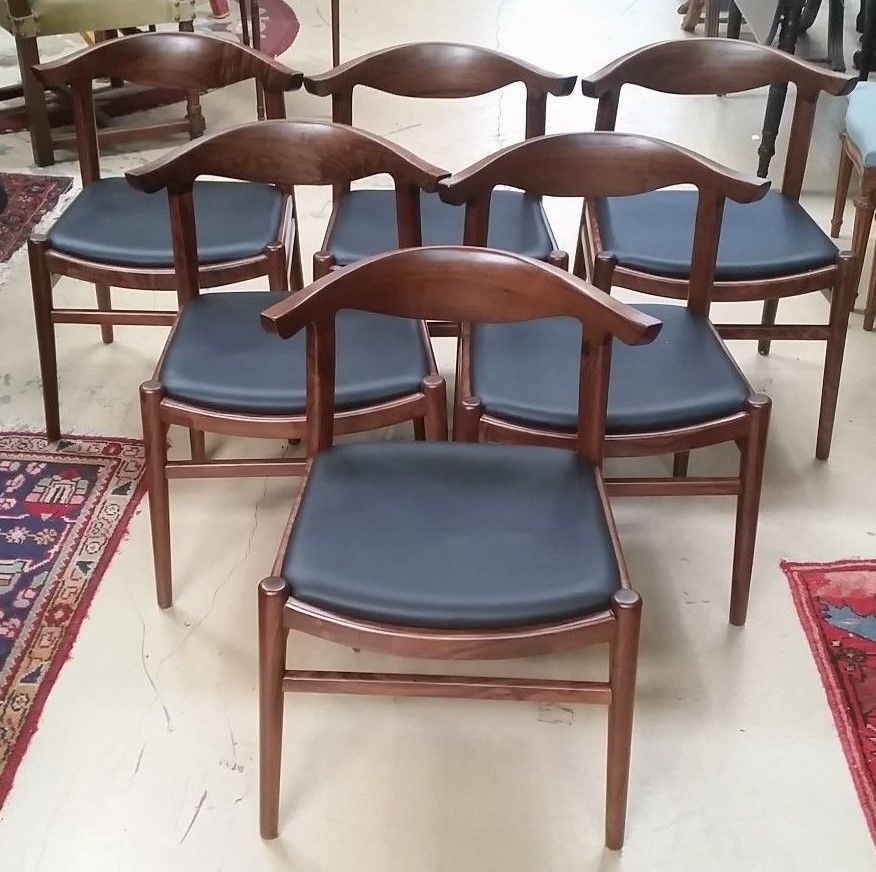 6 Mid Century Modern Hans Wegner Style Replica Elbow Chairs Solid Walnut  Leather #HansWegnerElbowChair