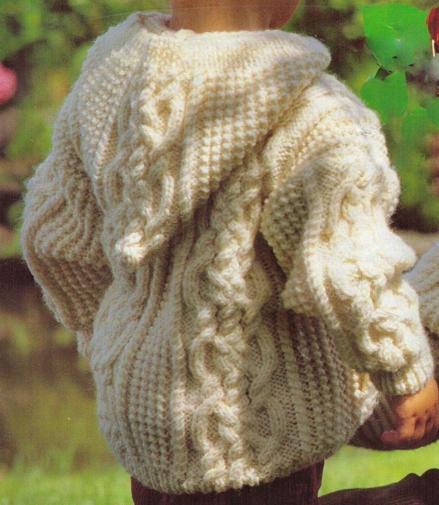 ARAN CABLE WOOL HOODED TOGGLED JACKET CHILDS SIZE 50-65 CM ...