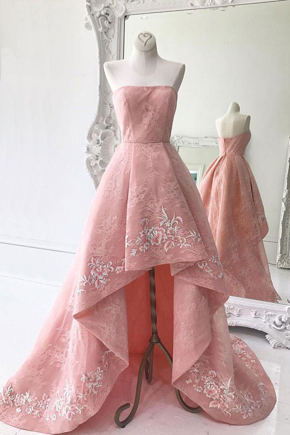 Pink lace high low homecoming dress, new design long prom dress ...