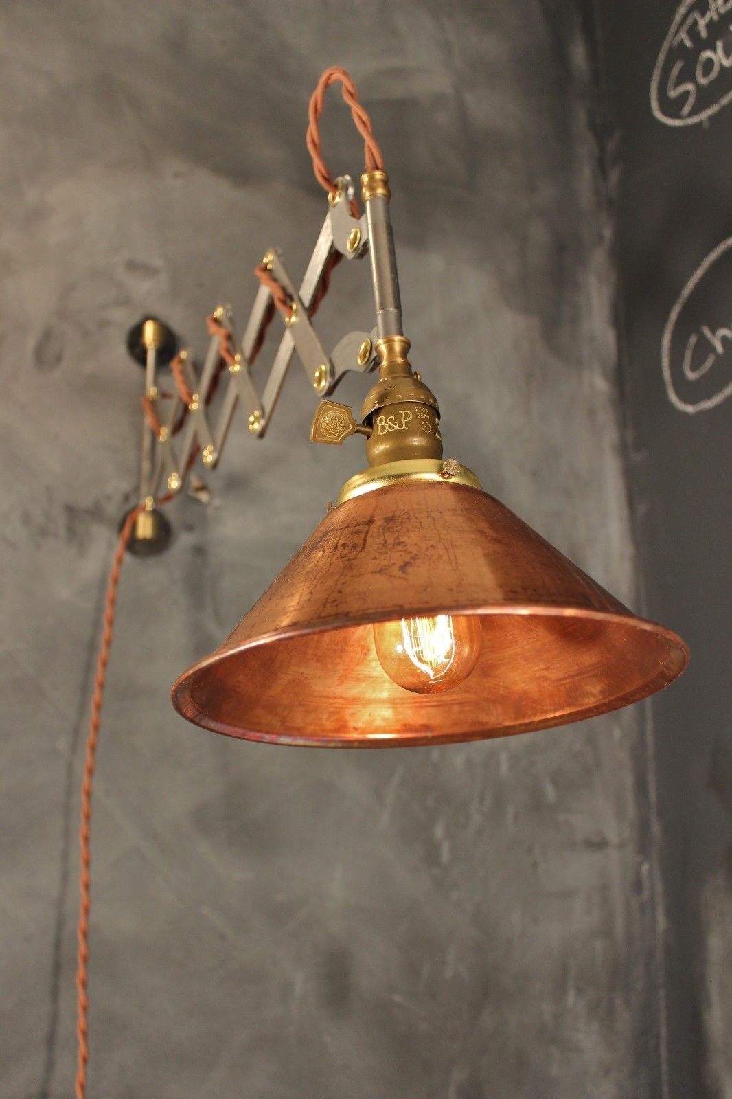 Details about Industrial Lighting  Vintage Scissor Lamp
