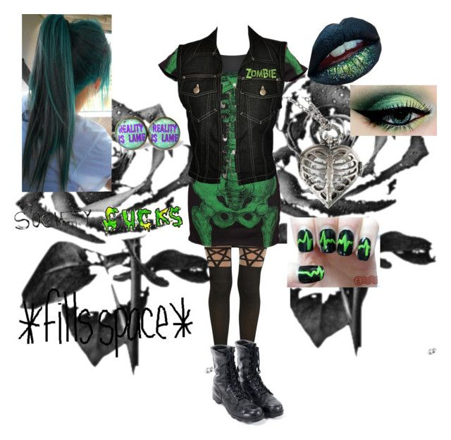 """""""Green Light contest"""" by emobandgeekforlife ❤ liked on Polyvore featuring Hot Topic, Kreepsville 666, RAHUA, Jean-Paul Gaultier and gothic"""