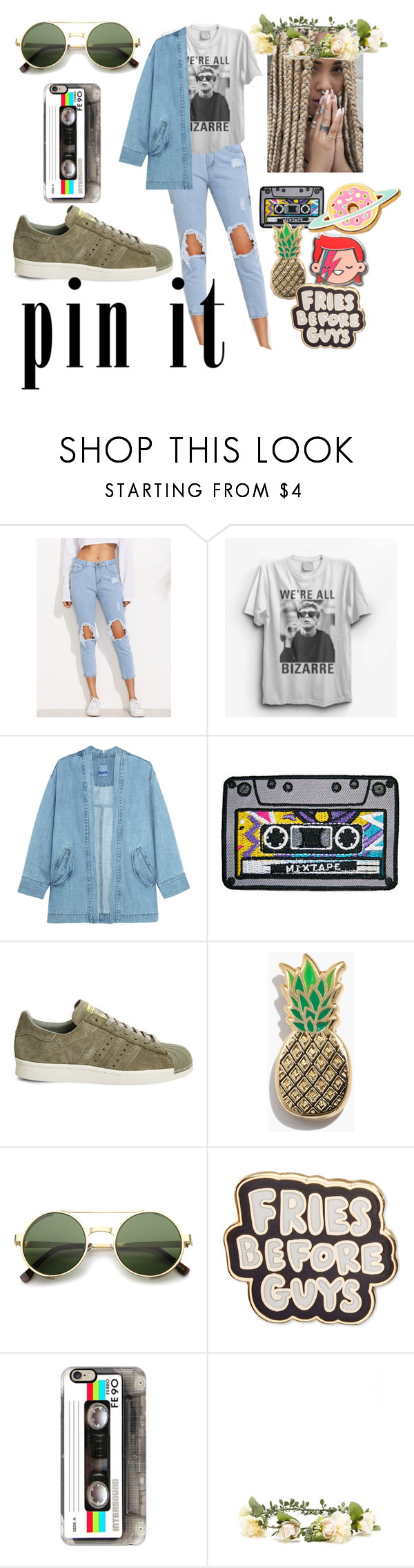 """""""Slightly 80s maybe??"""" by arion-the-gemini ❤ liked on Polyvore featuring Steve J & Yoni P, adidas, Madewell, ZeroUV, ban.do, Casetify, Forever 21, pins, iLOVEthe80s and thebreakclub"""