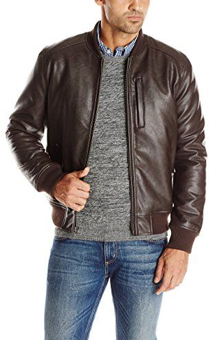 Cole Haan Signature Mens Zip Front Faux Leather Moto Jacket