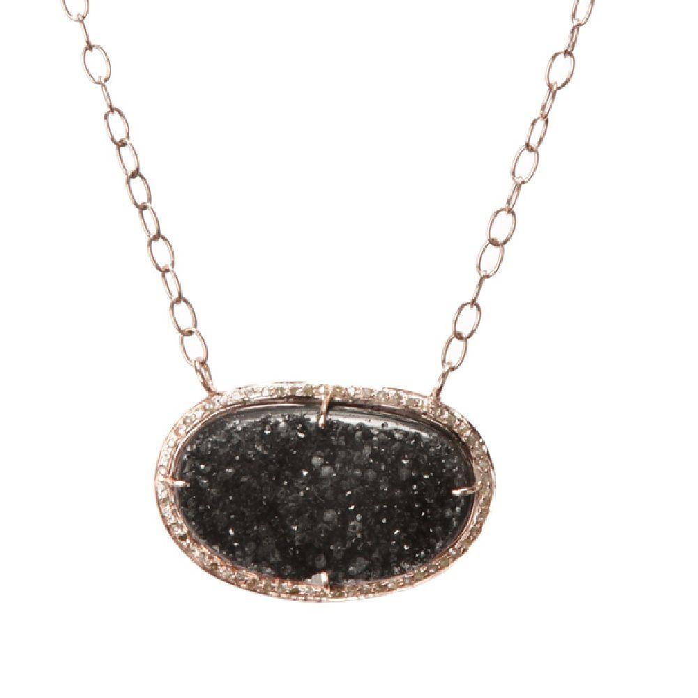 Jemma Sands Corfu Silver Druzy Rose Necklace