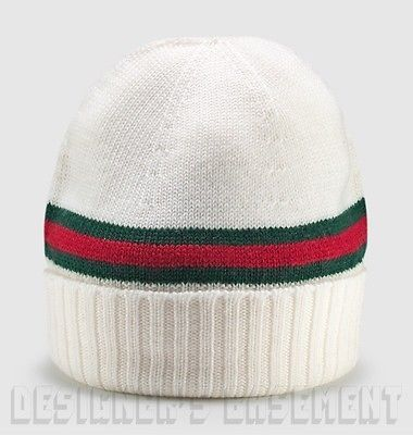fbb9ddac22977 GUCCI white green-red-green WEB knit 100% Wool BEANIE SKI skully hat NWT  Authent