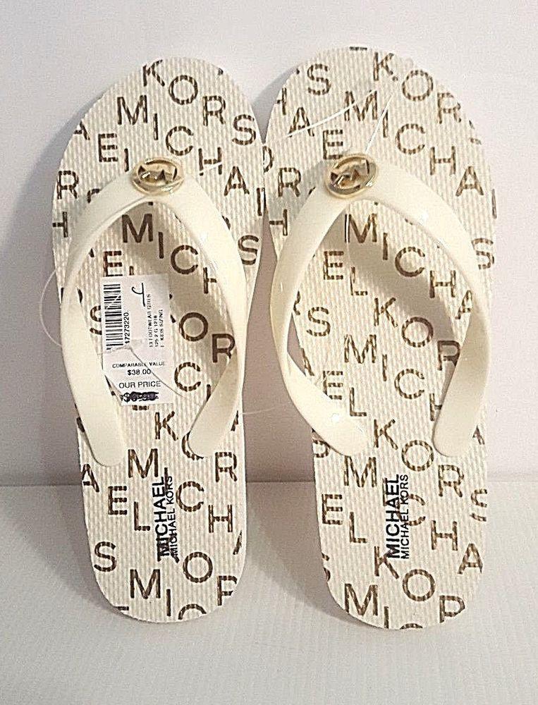 390602a241d3 Youth Girls MK Michael Kors Signature Flip Flop Sandal Slide Cream Gold  Size 4