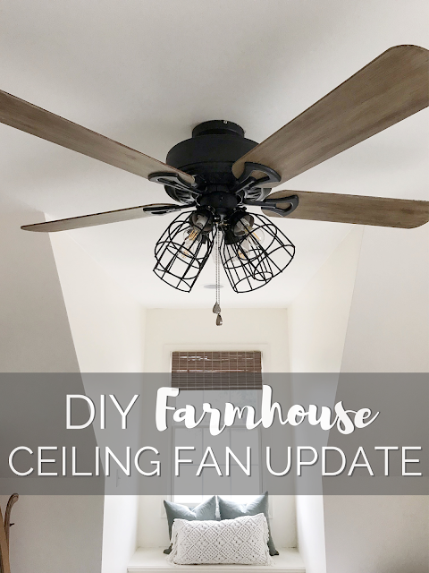 One Room Challenge Week 4 Diy Farmhouse Ceiling Fan Update R R At Home Farmhouse Ceiling Fan Ceiling Fan Bedroom Ceiling Fan Diy