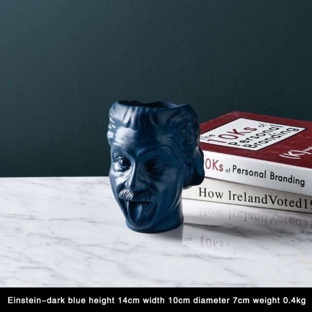 Photo of American Style Portrait Flower Vase Sculpture Flower Pot Desktop Flower Arrangement Container Flower Pot Head Statue Ornaments – Deep Blue
