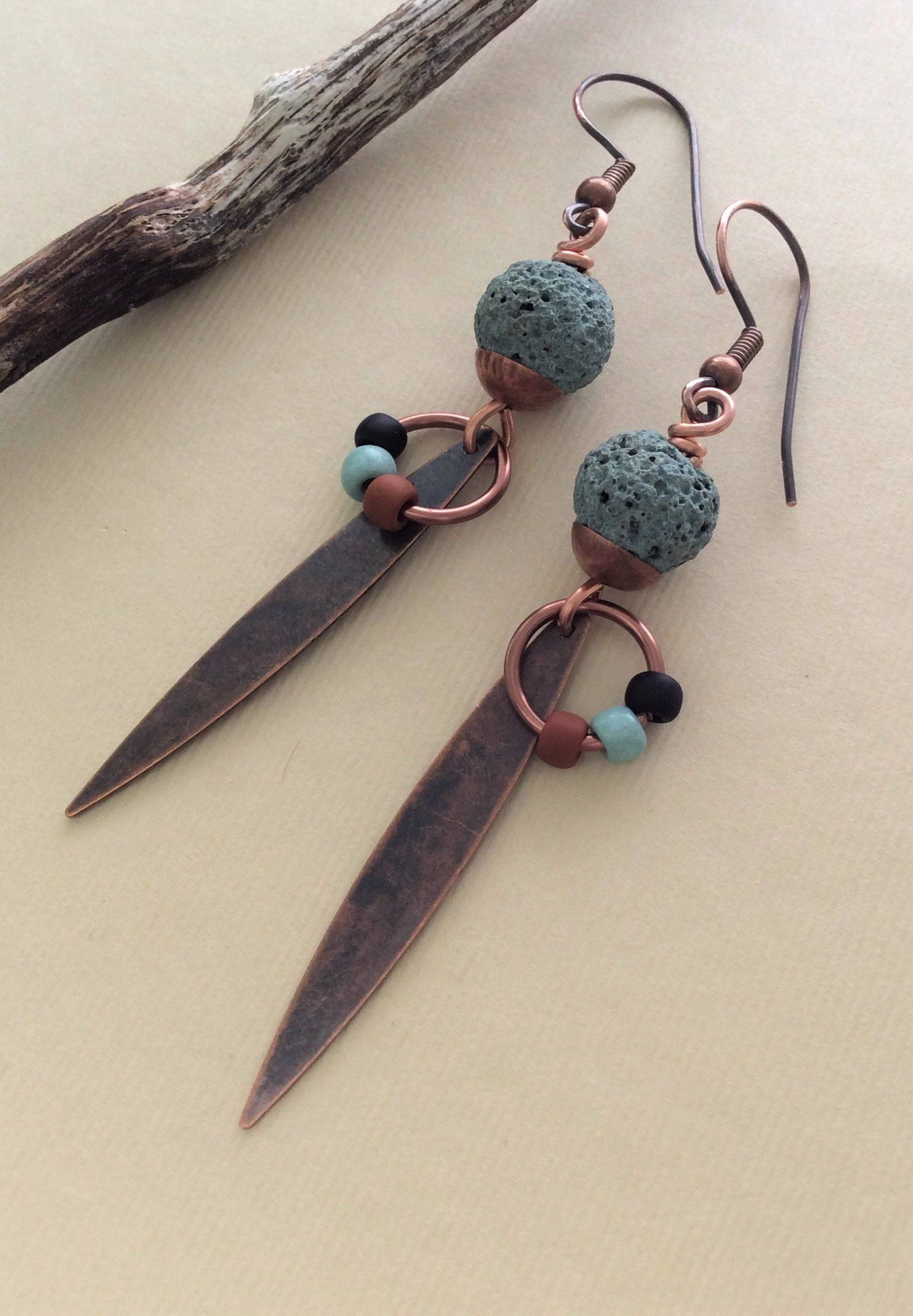 Photo of Turquoise Dangles, Lava Stone Earrings, Artisan Earrings, Bohemian Dangles, Copper Jewelry, Rustic Earrings, Handmade