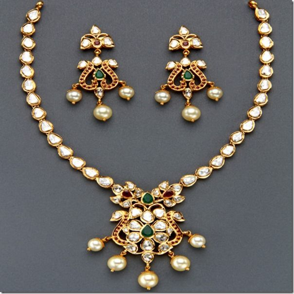 Indian Gold Jewellery Necklace Sets Google Search: Simple Polki Strings - Google Search