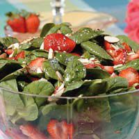 Strawberry Spinach Salad    2 (6 ounces) bags Baby Spinach Leaves   1 quart (32 ounces) fresh strawberries   1/2 c. Azar Sliced Almonds   * Dressing:   1/4 c. Monini Extra Virgin Olive Oil   3 tablespoons white wine vinegar   1/4 c. Domino Sugar   1 tablespoon Each Morton & Bassett Poppy and Sesame Seeds