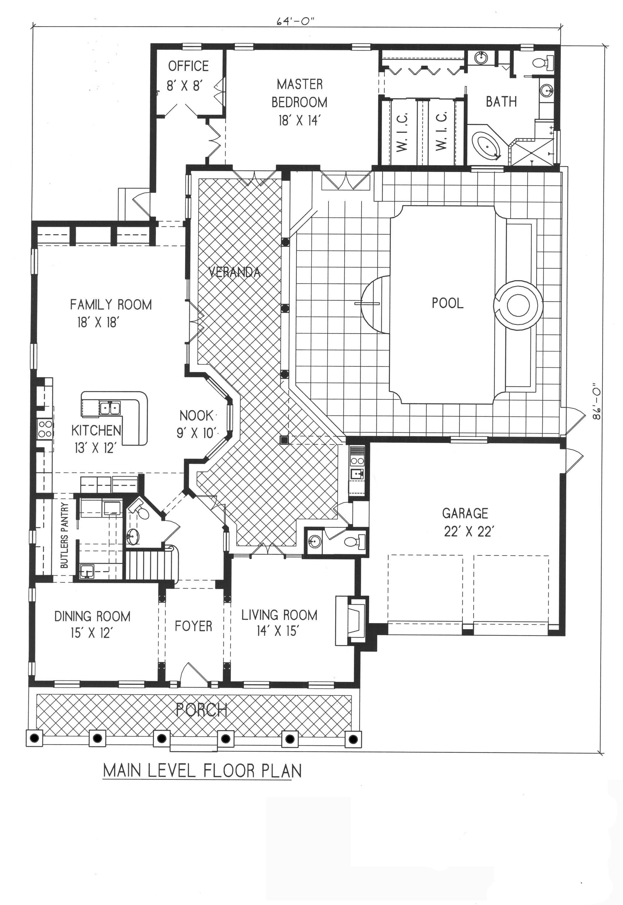 Plan 1 1100 American Style Home With A Living S F Of 3283 5175 S F Total 3 Full Baths And Mediterranean Style House Plans House Plans Floor Plan Design