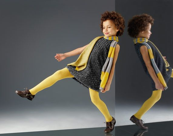 Love sweater dresses. I also like how the yellow goes with this gray. I'd try this on my kids. Colour LOVE - Fashion Girls Clothes – Fashion Boys Clothes | Il Gufo