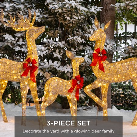 Best Choice Products 3 Piece Lighted Christmas Deer Set Outdoor Yard Decoration With 360 Led Lights Stakes Zip Ties Walmart Com Christmas House Lights Christmas Deer Reindeer Lights