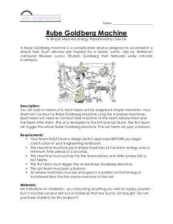 Image result for rube goldberg worksheet   rube   Rube ...