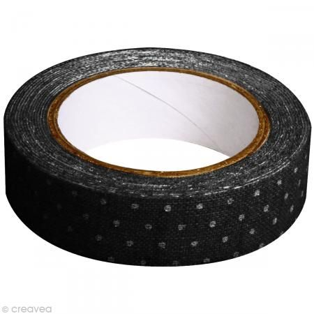 Fabric tape thermofixable - noir pois blancs - 15 mm x 5 m - Masking tape tissu - Creavea #fabrictape