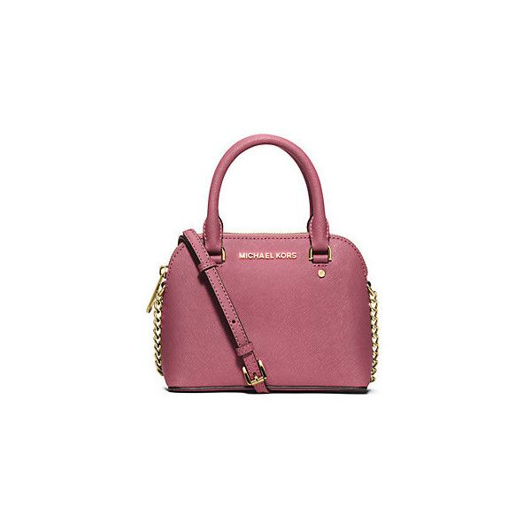 Michael Kors Cindy Extra-Small Saffiano Leather Crossbody ($178) ❤ liked on Polyvore featuring bags, handbags, shoulder bags, tulip, chain shoulder bag, red crossbody purse, chain crossbody, crossbody purse and crossbody handbags