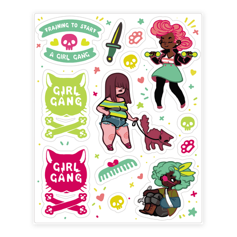 Girl gang stickers pump iron and flex those sweet sassy muscles with this training to start a girl gang design featuring a cute pumped up greaser gang