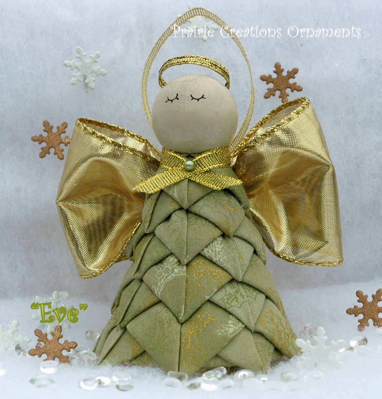 Christmas Angel Folded Fabric Ornament Kit Instructions Eve Fabric Christmas Ornaments Folded Fabric Ornaments Quilted Christmas Ornaments