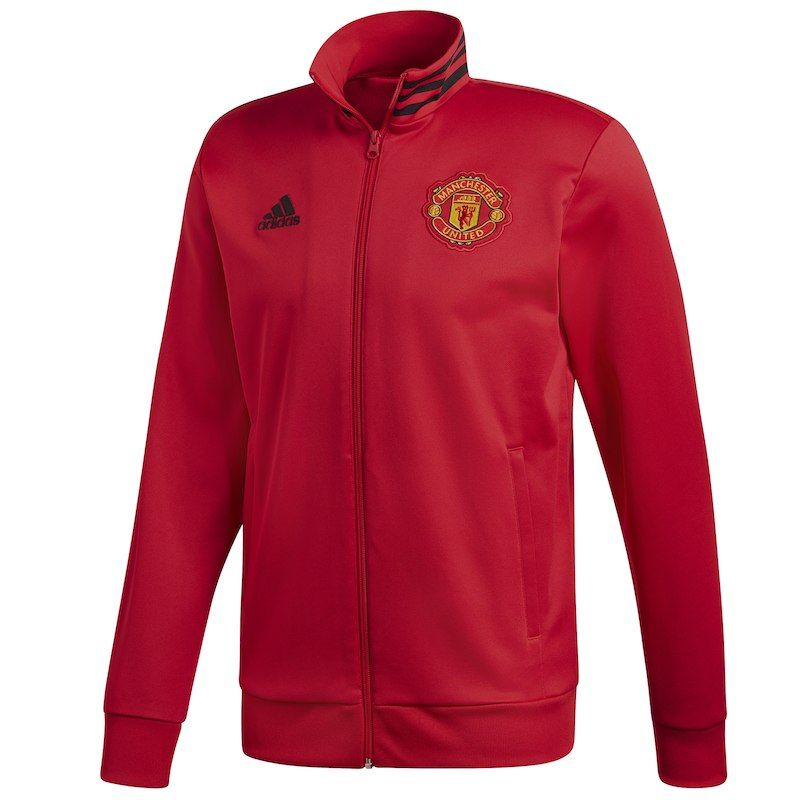 Manchester United adidas 3 Stripe Full Zip Track Jacket – RedBlack