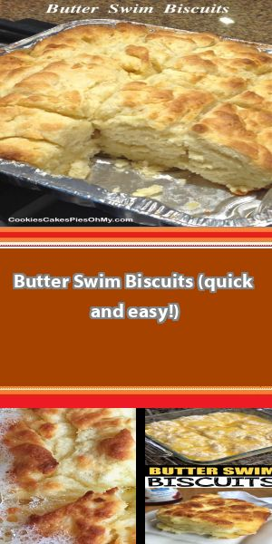 Easiest biscuits for dinner! A little crisp and very buttery on the outside and tender on the inside. Recipe comes from simplytexas. Careful, these are dangerous, you might eat the whole pan! 2½ cu… #butterswimbiscuits
