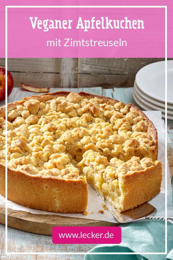 Veganer Apfelkuchen mit Zimtstreuseln Rezept | LECKER