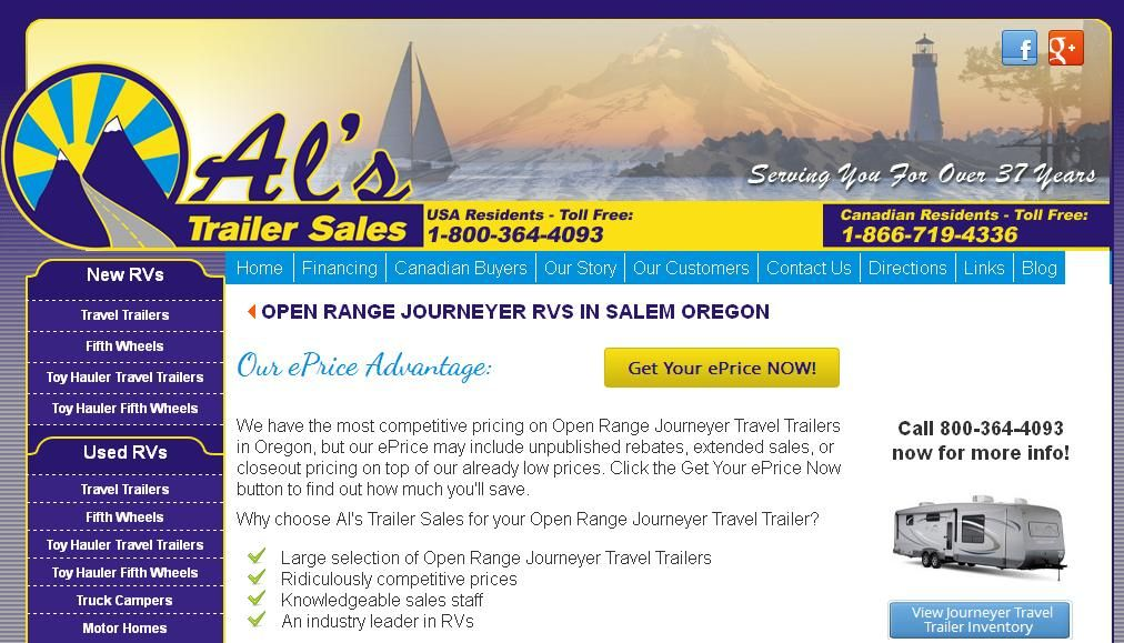 Al's Trailer is an Oregon RV dealer who sells new and used